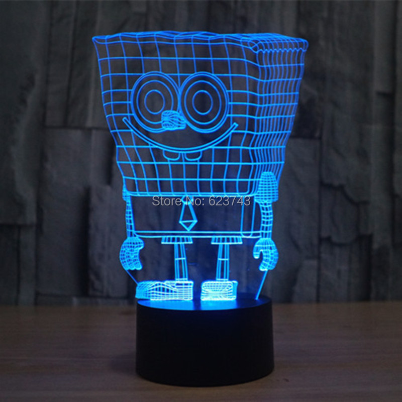 Free Shipping 7 Color changing 3D SpongeBob Squarepants Plastic LED - Night Lights - Photo 5