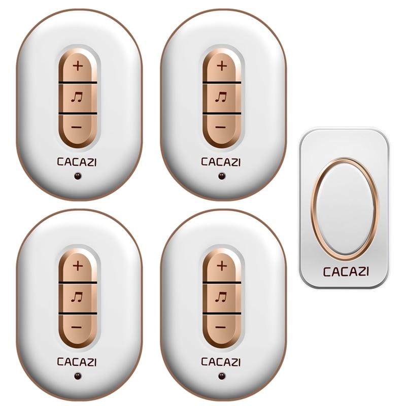 CACAZI Wireless doorbell 1 waterproof button+4 plug-in receivers AC 110-220V 280M remote door bell 48 rings 6 volume door chime