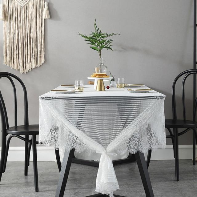 Nappe de Table en dentelle de cils | Nappe de Table, serviette de Table, couverture de café rectangulaire Mantel Mesa, Village américain, noir et blanc