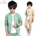 Adolescente primavera outono roupa dos miúdos define crianças jaquetas casuais 2 pcs terno + calça bebê set meninos terno esporte outwear 4-15year de L290