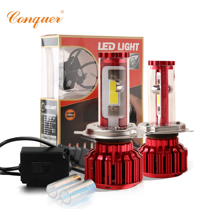 Conquer H4 HB2 9003 High Low Beam Car Led Headlight Kit High Power Auto Hi/lo White 6000K Bulbs Replacement Headlamp Canbus