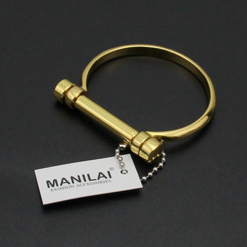 MANILAI Cuff Bracelet For Women Fashion Unique design screws Lock Charm Bracelet Bangles Statement Jewelry Collier Femme