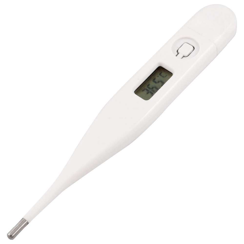 White Plastic LCD Display Compact Digital Thermometer 32-42 Celsius Degree Health Care