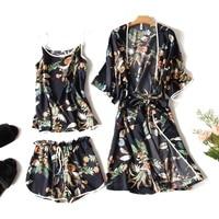 Luxury Silk Like Sleepwear Sets 3pcs Women Summer Home Clothing Short Sleeve Bathrobes Sexy Camisole Shorts