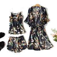 Ensembles de vêtements de nuit de luxe en soie 3 pièces femmes vêtements d'été à la maison peignoirs à manches courtes Sexy Camisole Shorts femme pyjamas