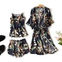 Luxury Silk like Sleepwear Sets 3pcs Women Summer Home Clothing Short Sleeve Bathrobes Sexy Camisole Shorts female Pajamas