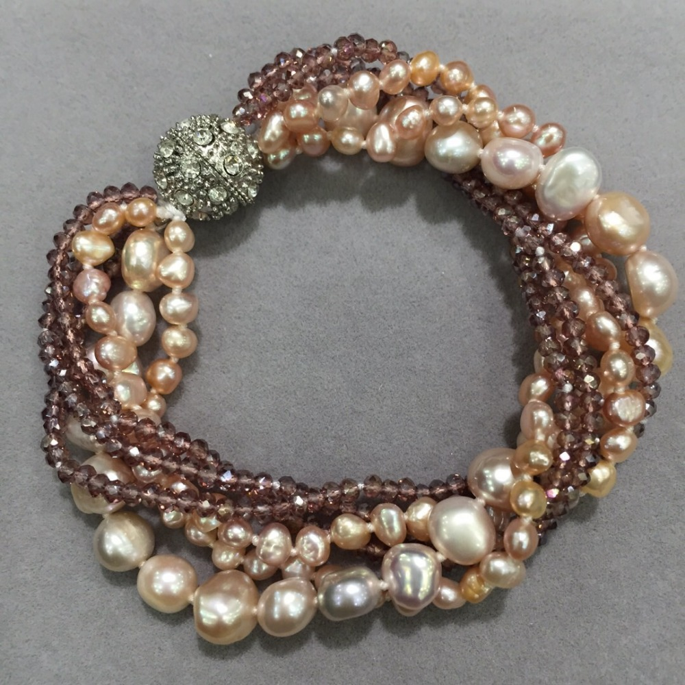 purple color natural fresh water pearl and crystal bracelet multi layers magnet lock fashion women jewelry free shipping