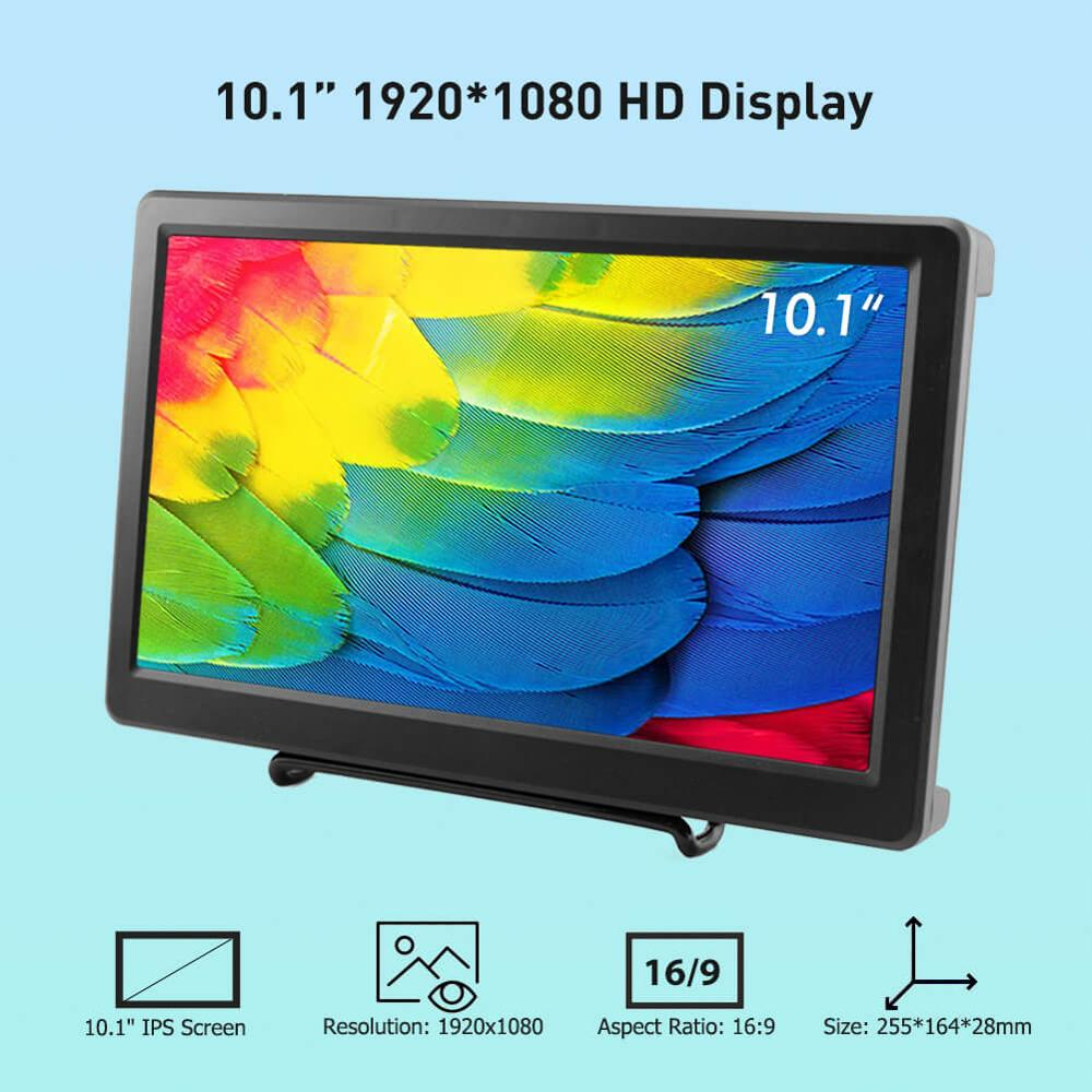 Elecrow 10.1 inch HD LED <font><b>Display</b></font> 1920X1080p IPS <font><b>Raspberry</b></font> <font><b>Pi</b></font> 4B+ Monitor <font><b>HDMI</b></font> FPV Video Speakers Screen for Xbox Windows System image
