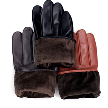 man's fashion winter warm elastic style touch screen top leather gloves three colors