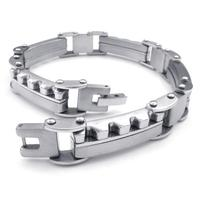 22 cm Fashion trendy silver stainless steel bracelet charm unisex handsome bracelets accessories 072258