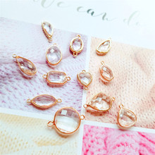 NEW DIY transparent water drops rectangular irregular shaped crystal earrings necklace pendant material 1 pack of 6 pieces(China)