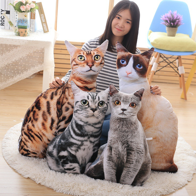 купить 1pcs 50cm Soft 3D Simulation Stuffed Cat Toys Double-side Seat Sofa Pillow Cushion Cute Plush Animal Cat Dolls Toys Gifts по цене 912.53 рублей