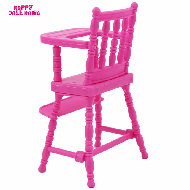 One Set Pink Embly Baby High Chair Nursery Furniture Toys Dollhouse Accessories For Barbie Kelly Size Doll 1 12 Dinner Gift