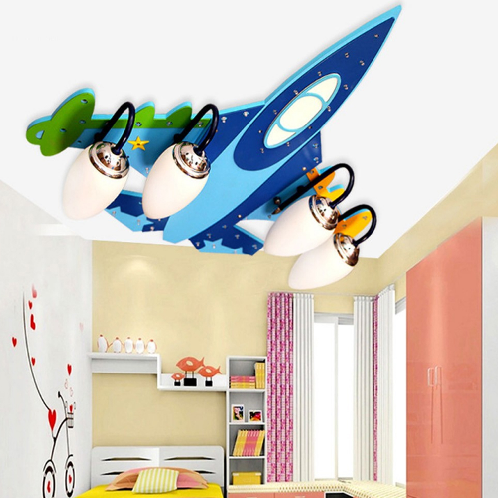 Acrylic Wireless Bluetooth Airplane E14 Led Ceiling Lights Kids 110V 220V USB Audio Amplifier Speakers Wooden
