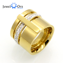16mm Width Brand Design Rhinestone 316L Stainless Steel Rings For Women Gold Plated Party Jewelry (JewelOra RI102371)