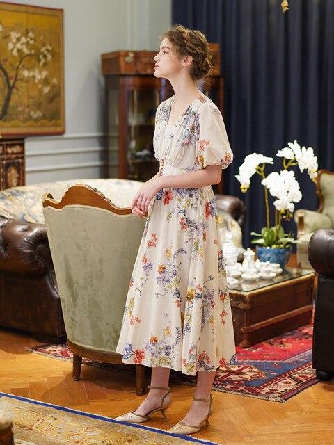 LYNETTE'S CHINOISERIE Summer Original Design Women Mori Girls Rustic Floral Print Slim French Vintage Breathable Cotton Dresses