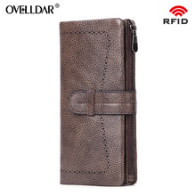 RFID women wallets Genuine Leather long Fashion Solid luxury purses phone bag photo card holder Billetera de mujer new arrival
