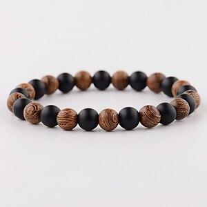Image 2 - DOUVEI Bracelets élastiques de Yoga, pour hommes et femmes, perles en bois et en pierre noire, élastique, pour méditation, Yinyang, bijoux de prière, ABJ036, 2018