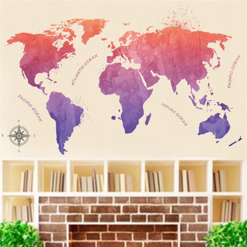 % Kleurrijke Wereldkaart Zee Muurstickers Woonkamer Kantoor School Slaapkamer Decoratie Diy Muurschilderingen Home Decals Poster Muurschildering Comfortabel En Gemakkelijk Te Dragen