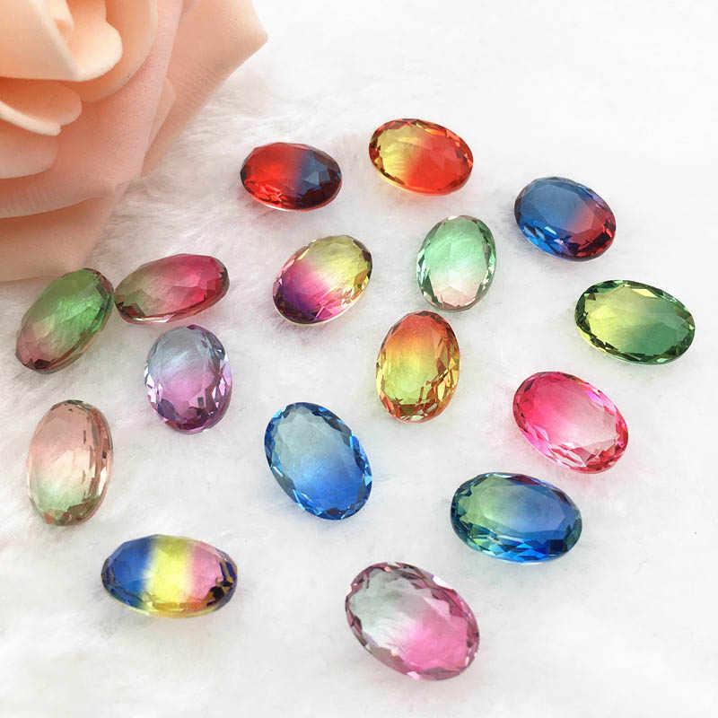10 14 Mm Clear Rainbow Kleur Ovale Toermalijn Steentjes Glas Kristal Steen Jurk Decoratie Juwelen Maken Rhinestones Aliexpress