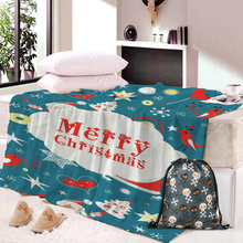 Dropship Christmas Decorations for Home Flannel Blanket Adult Joyous Printed Winter Soft Fluffy