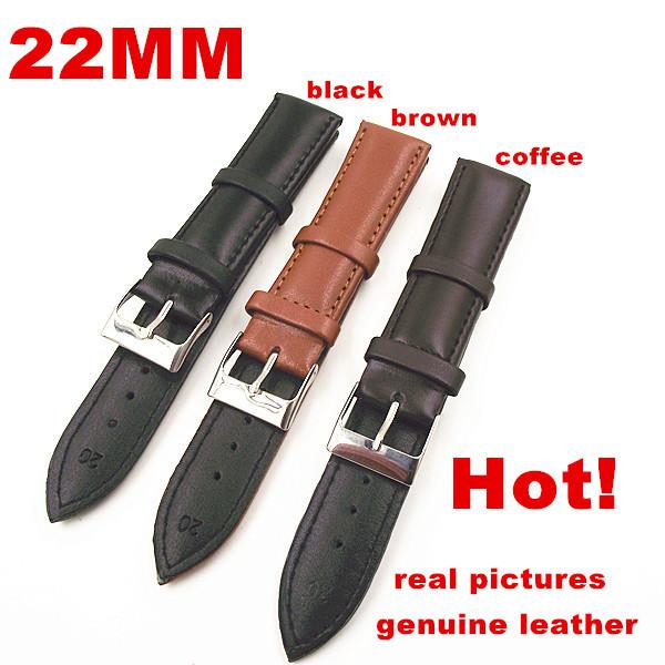 Prix pour Gros Haute qualité 50 PCS/lot 22 MM véritable bande de montre en cuir montre bracelet montre pièces-noir, brun, café color-0201107