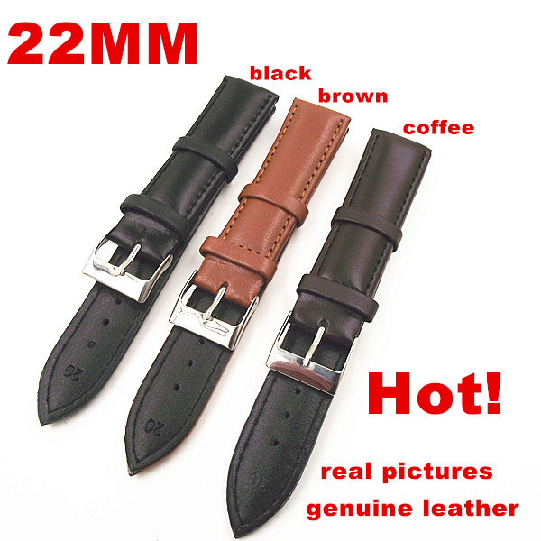 Wholesale High quality 50PCS/lot 22MM genuine leather watch band watch strap watch parts black ,brown,coffee color 0201107-in Watchbands from Watches    1