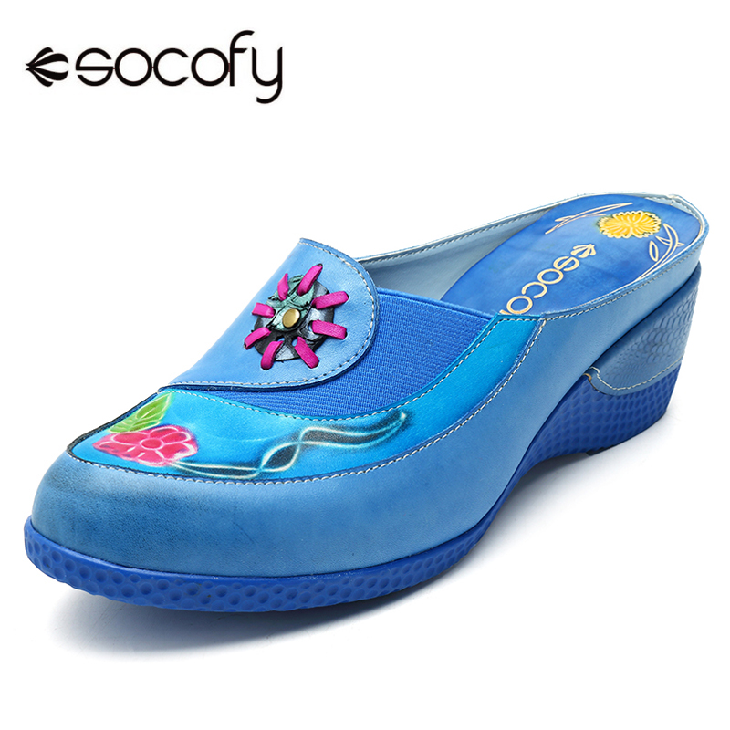 Socofy Bohemian Luxury Slippers Slides Genuine Leather Shoes Woman Round Toe Wedge Heels Summer Slippers Casual Women Shoes New socofy bohemian genuine leather shoes women sandals vintage printing forest hook loop wedge heel women slippers summer new