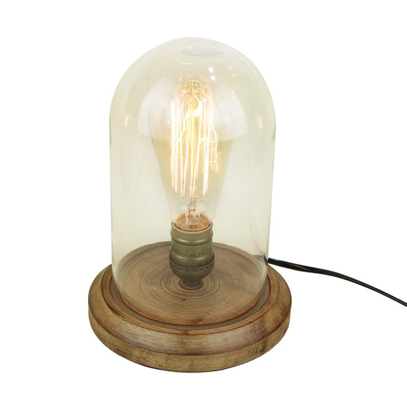 Vintage Taste Table Light Edison Bulb Wooden Desk Lamp Retro Country Style Glass Lampshade Antique Art Display (US Plug) us golf country кеды