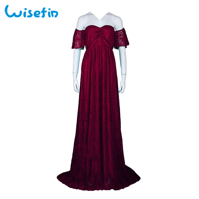 Wisefin Maternity Maxi Dresses For Pregnant Women 2018 Summer Lace Maternity Dress Photography Pregnancy Photography Props