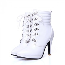 2016 New Women's Winter Black High Heeled Ankle Shoes Boots Pointed Toe Lace Up Heels Platform Stiletto Booties