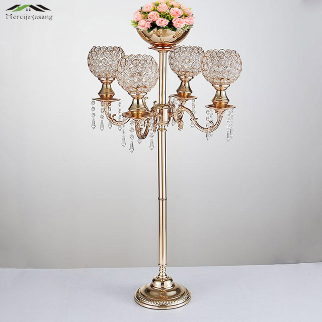 10PCS/LOT Metal Gold Candle Holders 89CM 5-Arms With Crystals Stand Pillar Candlestick For Wedding Portavelas Candelabra 06001