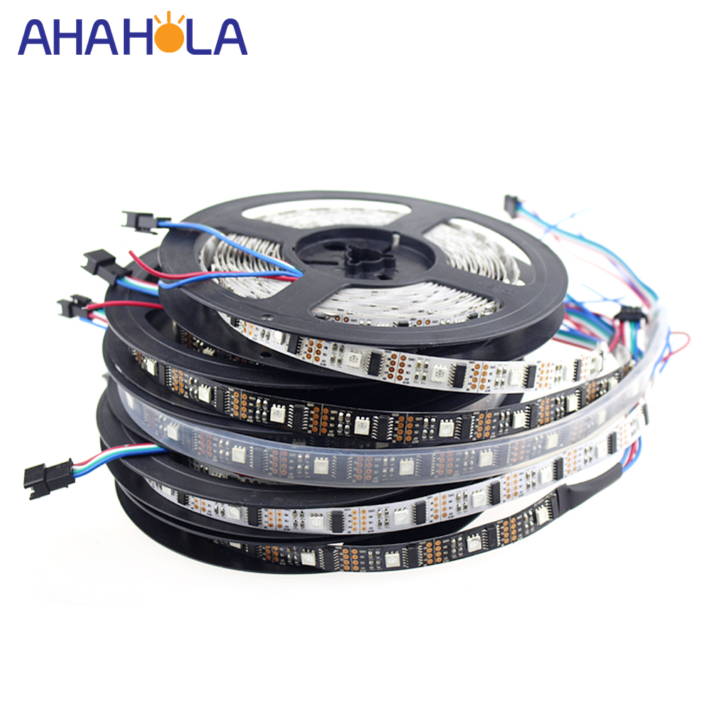 5m WS2801 bande Led, adressable WS2801 rgb 32 led tv Ambilight, 5v WS2801 bande framboise Pi Arduino contrôle blanc ou noir PCB