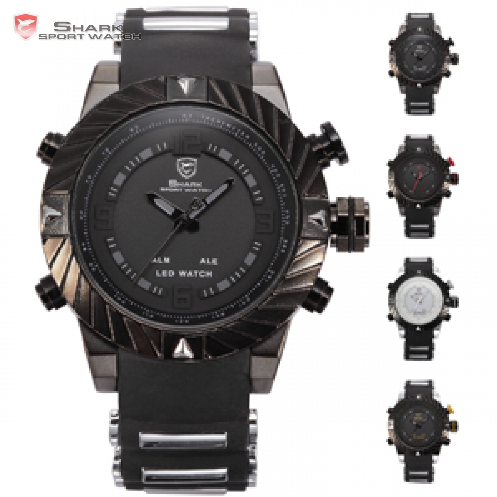Luxury Leather Box Goblin Shark Sport Watch Dual Time LED Digital Quartz Wrist Watch 1