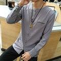 China Estilo Homens Camisa Sólida Casuais Camisas dos homens Slim Fit Top qualidade de Linho Camisa de Manga Comprida Único Breasted Dos Homens Plus Size 5XL