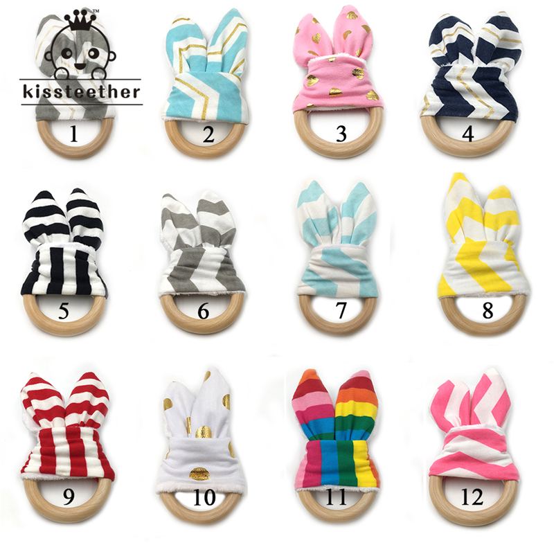 12pcs DIY Baby Toy Organic Teething Ring Bunny Ear Teething Ring For Baby/Fabric And Wooden Teether Ring Inside Crinkle Material