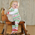 2 pcs/SET Christmas Baby Kids Girls Boys Long Sleeve Christmas Eve Nightwear Pajamas Set Sleepwear Suit H417