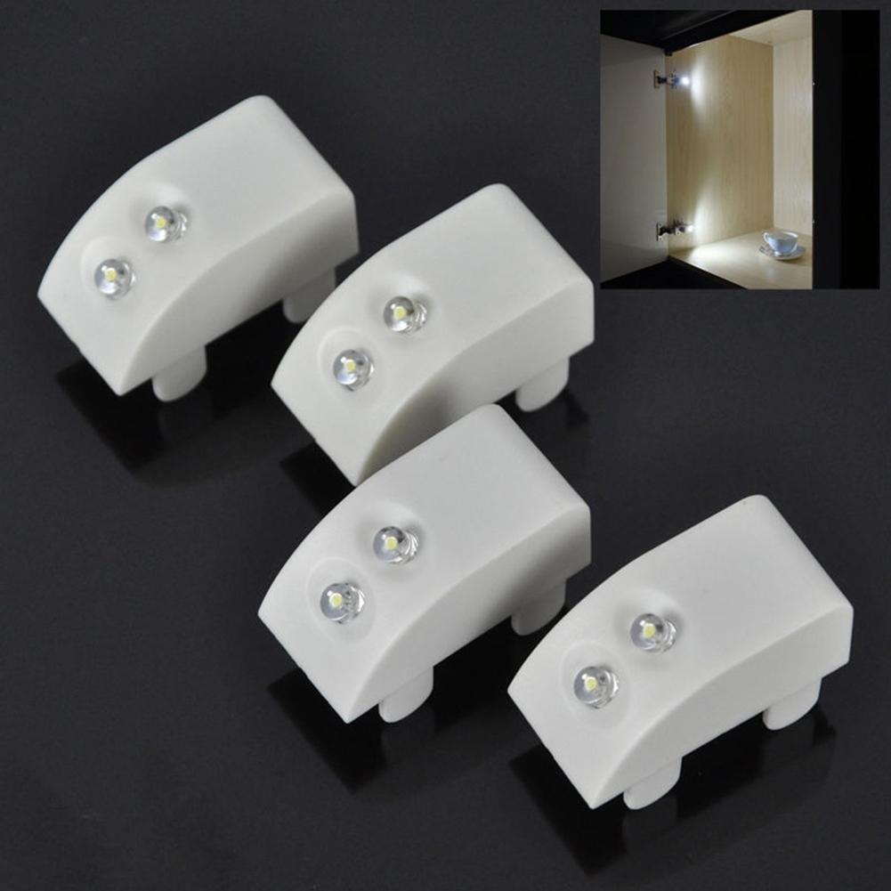 AsyPets Cabinet Door Hinge Attached LED Lights For Kitchen Wardrobe Closet Including Button Battery