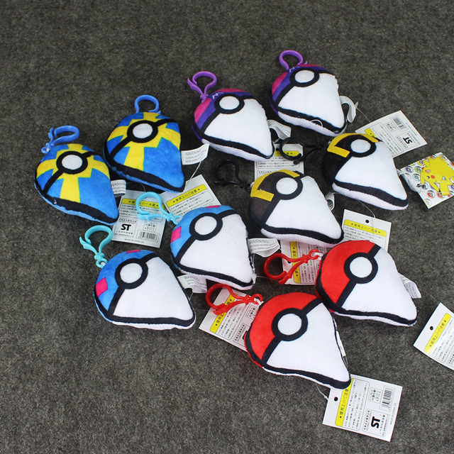 Q Version 8cm 5pcs/set Pokeball Racket Plush Toys Poke Ball Pendants Figure Keychain Gifts Free Shipping