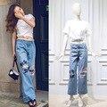 Fashion woman's ripped jeans Spring Wide leg pants S-XL size