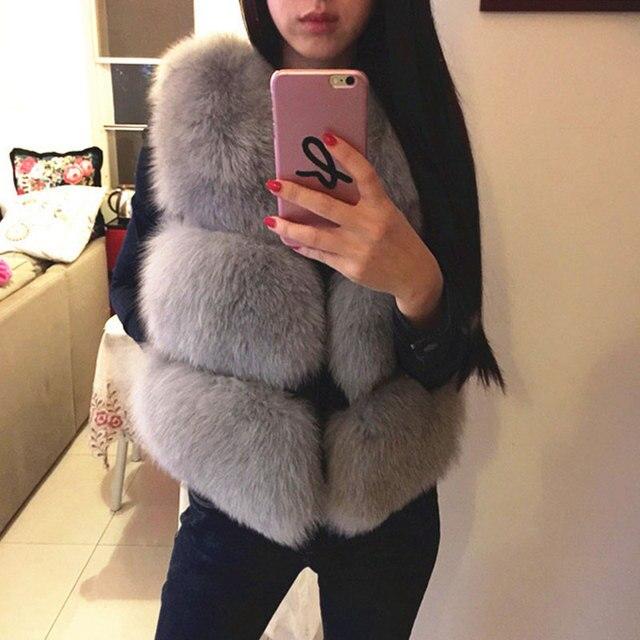 2 016 Новый осень зима лиса меховой жилет из искусственного меха жилет куртка женщин норки жилет верхняя одежда короткий параграф шуба Рождество