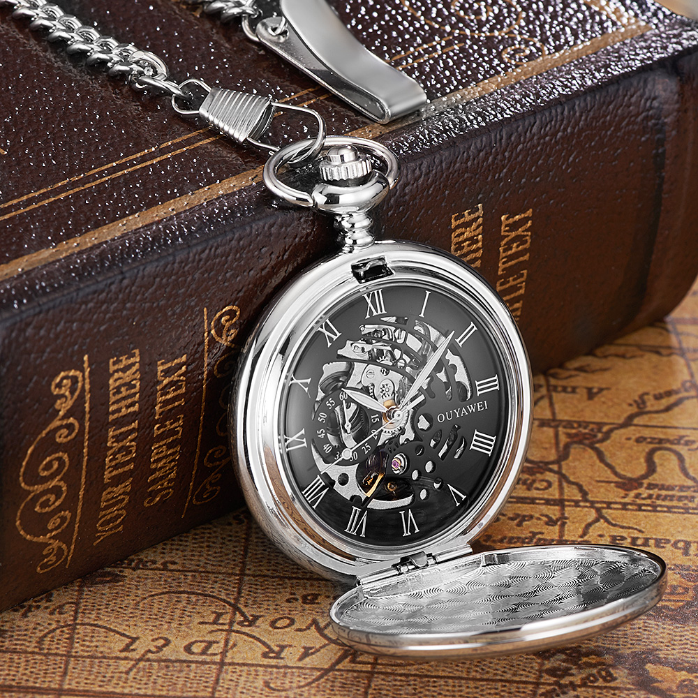 Image 3 - NEW Hot Brand OUYAWEI Brand Mechanical Hand Wind Pocket Watch Silver Black Stainless Steel Case Water Resistant Hombre Watch Menpocket watchpocket watches brandspocket watch silver -