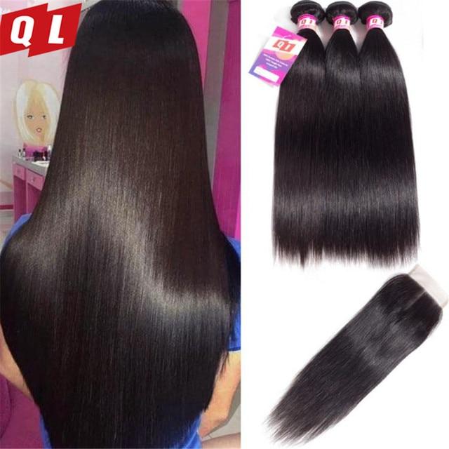 QLOVE человеческие волосы пучки с бразильские волосы с закрытием плетение прямые волосы пучки натуральный цвет 3 пучка с закрытием не Реми