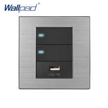 2018 Wallpad 2 Gang 2 Way With USB Charger 5V 1000mA Wall Power Charger Stainless Steel Satin Metal Panel With LED Indicator