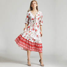 BEFORW Women Summer Boho Chic Beach Dress Sexy V Neck Lace Up Floral Print Midi Dresses 2019 Female Elegant Party Dress Vestidos