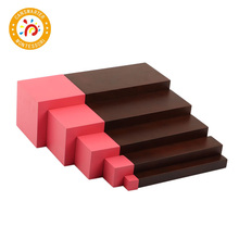 Montessori Materials Pink Tower 5 steps and Brown Stairs 5 steps Blocks Early Education Children Toy