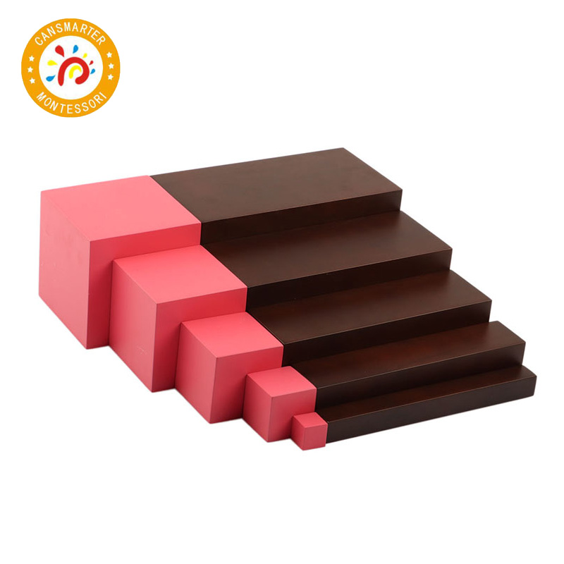Montessori matériaux rose tour 5 marches et marron escaliers 5 marches blocs éducation précoce enfants jouet