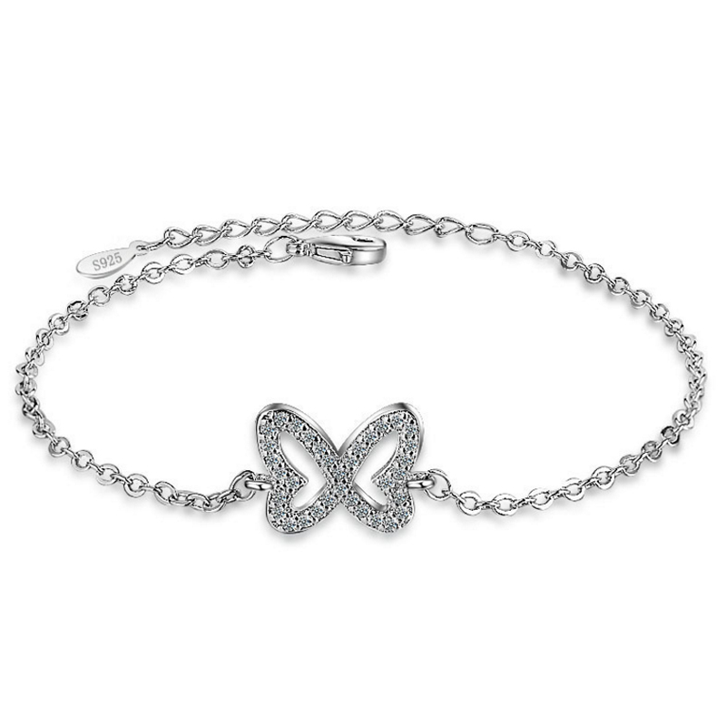 Charm bracelet women insect butterfly shape setting zircon link chain mail tail chain jewelry wrist classic fashion jewelry