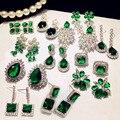 Женские винтажные серьги  большие капельки воды  Зеленый хрустальный камень  длинные серьги с цветком  кубическим цирконием  для вечеринки  ...