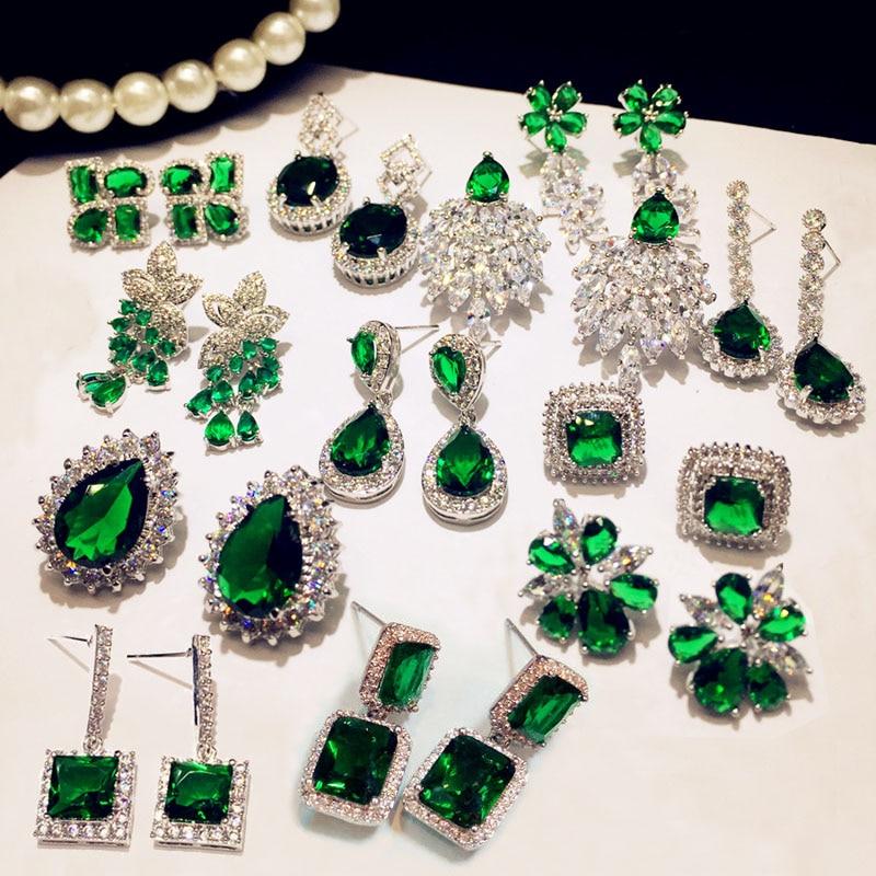 все цены на Fashion Vintage Big Water Drop Green Crystal stone Long Earrings Flower Cubic Zirconia women Party Weddings Hanging Earrings онлайн